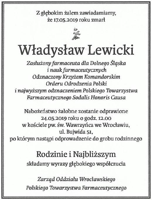 Zmarł Władysław Lewicki